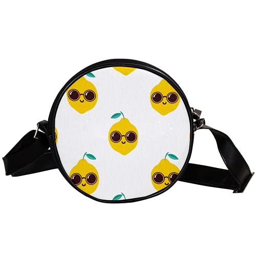 Bolso cruzado redondo pequeño bolso de las señoras de la manera bolsos de hombro bolso de mensajero bolsa de lona bolsa de cintura accesorios para las mujeres - limón fresco con gafas de sol