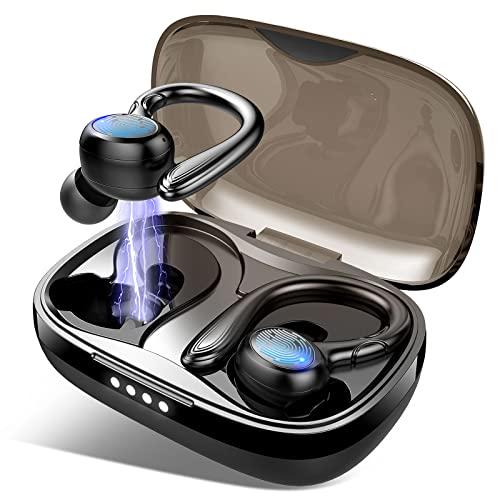 Auriculares Inalambricos Deportivos, Auriculares Bluetooth 5.1 Deporte con Retirable Gancho, IP7 Impermeable Cascos Inalambricos In-Ear Sport, Graves Profundos Sonido Estéreo, Reproducción de 40 Horas