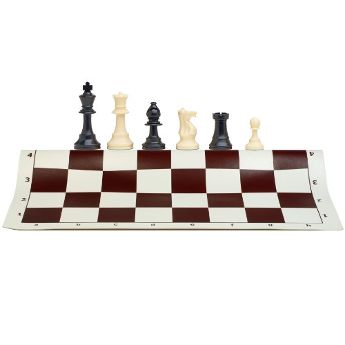 Best Value Tournament Chess Set 90% Plastic Filled Chess Pieces and Brown Roll-Up Vinyl Chess Board