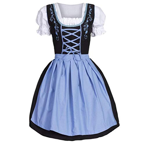 VEMOW Damen Kostüme ELegant Damen 3 Stück Dirndl Kleid Bluse Costumes rachtenkleid mit Stickerei Traditionelle bayerische Oktoberfest Karneval(Blau 3, 38 DE/L CN)
