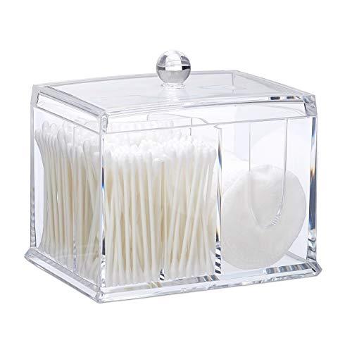 Relaxdays Misure, Porta Cotton Fioc, in Acrilico, Grande Dispenser da Bagno per Dischetti di Cotone, Varie, Trasparente