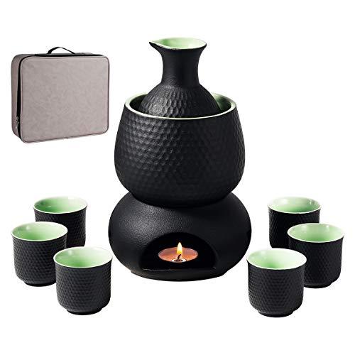 Sake-Set und Tassen mit Wärmer und Geschenkbox, traditionelles japanisches Porzellan für heiße Sake-Getränke, 9-teilig, inklusive 1 Herd, 1 Warmhalteschale, 1 Sake-Flasche, 6 Tassen