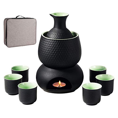 Sake Set and Cups with Warmer Keep Sake Storage Gift Box, Traditional Porcelain Japanese Pottery Hot Saki Drink, 9pcs include 1 Stove 1 Warming Bowl 1 Sake Bottle 6 Cup
