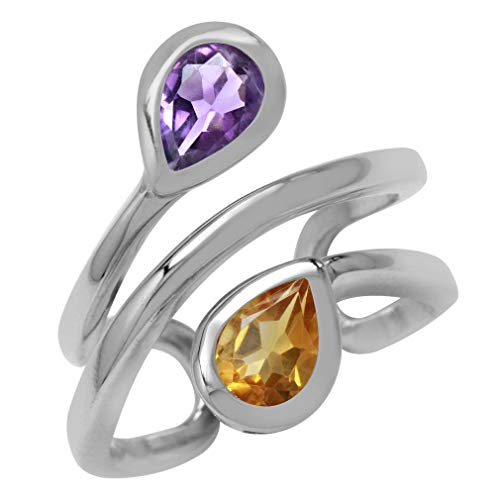 Silvershake Natural Pear Shape Amethyst and Citrine White Gold Plated 925 Sterling Silver Double Line Cuff Ring Size 10