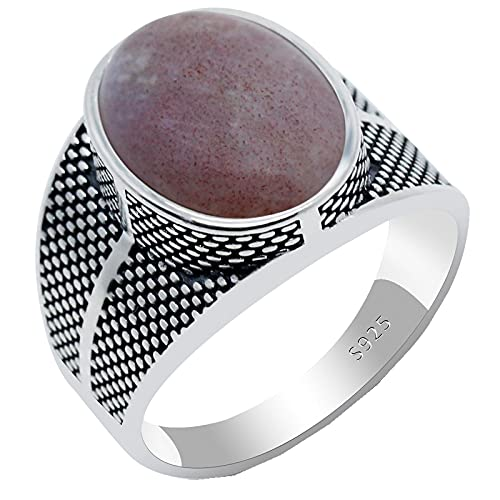 Anillo de ágata para hombres y mujeres, Plata de Ley 925, piedra natural, anillo de dedo Vintage, joyería de plata turca tailandesa, regalo para hombre y mujer13Indiaagate2