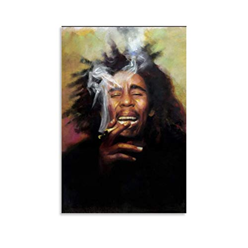 xiaoxian Leinwandbild, Motiv: Bob Marley, Raucher, 40 x 60 cm, Schwarz / Weiß