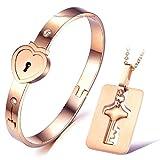 University Trendz Heart Lock and Key Stainless Steel Bracelet Pendant Set for Couples
