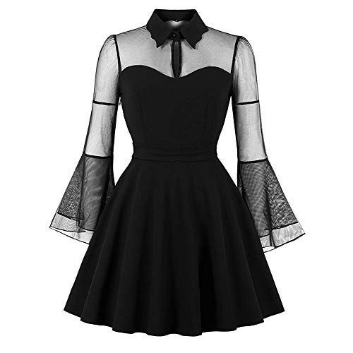 CharMma Damen Gothic-Kleid Peter Pan Kragen Schlüsselloch Glocke Ärmel Mesh-Einsatz - Schwarz - X-Groß