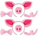 8 Pièces Ensemble d'Accessoires de Costume de Cochon Bandeau Oreilles Nez Queue de Cochon Fantaisie et Ensemble de Costume de Noeud de Cochon pour Tout-Petit et Enfant