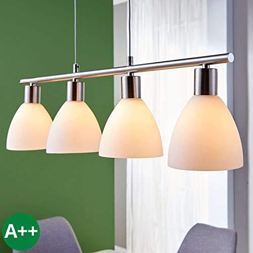 Lampenwelt Esstisch Pendelleuchte Glas Metall |höhenverstellbar | Hängelampe 4-flammig |Hängeleuchte für Esszimmer, Wohnzimmer, Küche | Balkenpendelleuchte