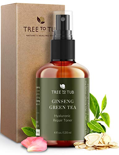 Deep Calming Toner Spray for Sensitive Skin by Tree To Tub—pH 5.5 Balanced, Face Priming and Hydrating with Hyaluronic Acid, Organic Witch Hazel, Rose Water, Ginseng, Green Tea, 4 oz