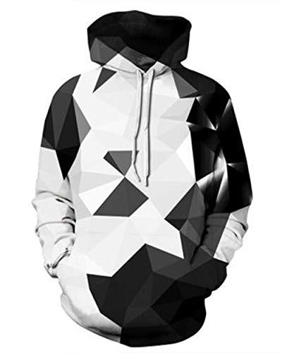 Belovecol Mens Womens Hoodies 3D Digital Geometry Diamond Printed Pullover Sweatshirt Hip Hop Street Style Novelty Hoodie for Outdoor XL