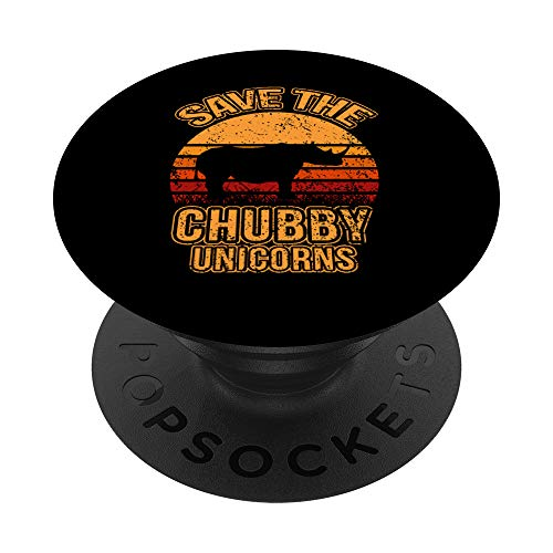 Save The Chubby Unicorns Retro I Vintage I Rinoceronte PopSockets PopGrip: Agarre intercambiable para Teléfonos y Tabletas