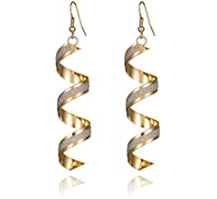 AILUOR Exquisite Sparkling Frosted Spiral Long Pierced Drop Earrings Fashionable Curley Cue Twisted Spiral Gold Silver Loops Hook Dangle Earrings Stud Jewelry for Women Girl