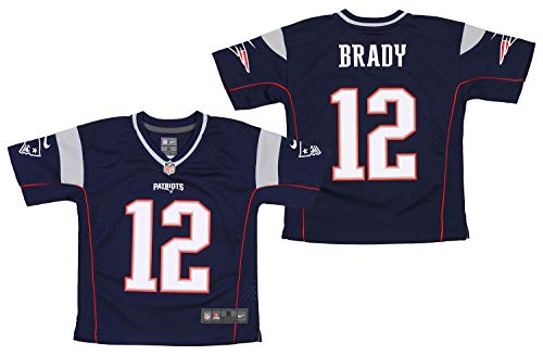 NFL New England Patriots Tom Brady #12 Little Boys (4-7) Game Jersey, Navy (Small (4))