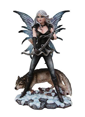 Statuette FEE ET Son Loup (HT 27 cm) - Figurine Loup