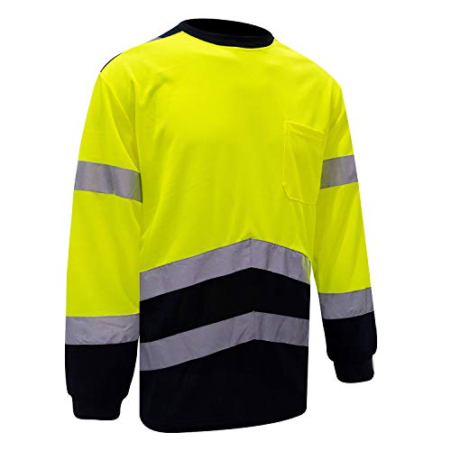 Safety High Visibility Long Sleeve Shirts Reflective Construction Shirt For Men, Hi Vis T Shirts Work and Wear Running Tee (Yellow,S )