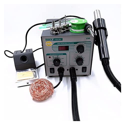 ZZQQ 706W + Digitalanzeige Heißluftpistole Lötung Eisen Anti-Statische Temperatur Bleifreie Überarbeitungsstation 2 in 1 mit 3 Düsen