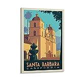 APAZSH Posters para Pared Póster de Arte en Lienzo de Viaje Retro de la Ciudad de Santa Bárbara y póster de Decoracion Familiar Moderna con impresión de Cuadros artística de pared60x90cm x1 Sin Marco