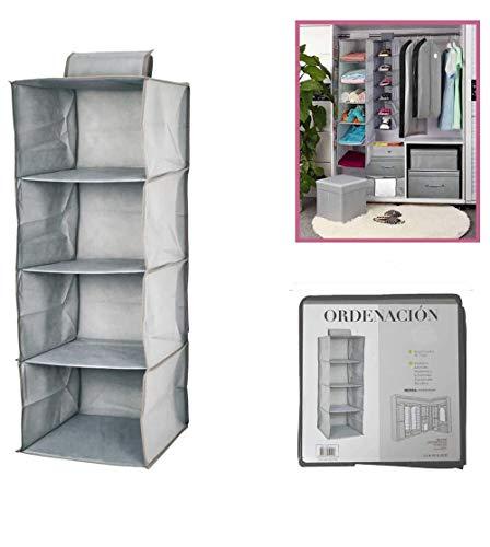 Dabuty Online, S.L. Organizador para Colgar en el Armario u hogar con 4 estantes Color Gris. Medidas 30 x 30 x 80 cm. Zapatero, Organizador de Ropa.
