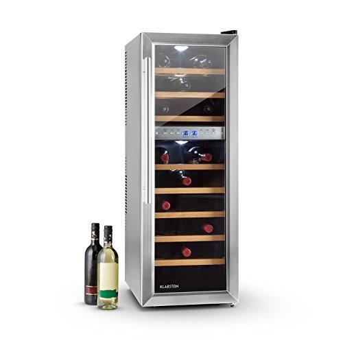 Klarstein Reserva 27D - Frigorifero per Vino, 76 Litri, 27 Bottiglie, CEE: C, 2 Zone di Raffreddamento Programmabili, Display Temperatura Interna, Autoportante, Nero-Argento