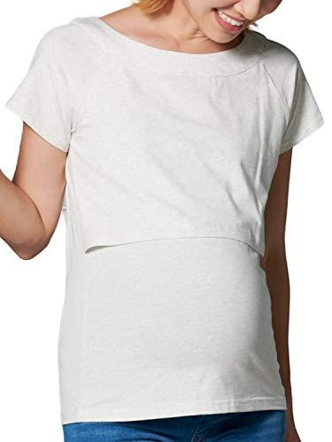 Sweet Mommy 授乳服 マタニティトップス Tシャツ 授乳口 デコルテすっきり ストレッチコットン ラグラン 着やせ 袖丈選べる 杢ホワイト [半袖]S