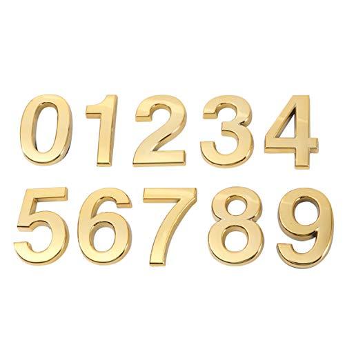 VOSAREA 3D-Hausnummer 0-9 Aufkleber Türnummer Zimmernummer für Haus Hotel Tür Adresse Zeichen 5 cm 10 Stücke (Golden)
