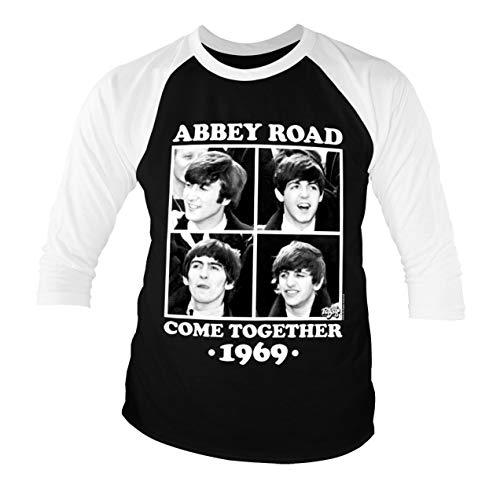 Licenciado Oficialmente Abbey Road - Come Together Baseball Camisa de Manga 3/4 para Hombre (Negro-Blanco), X-Large