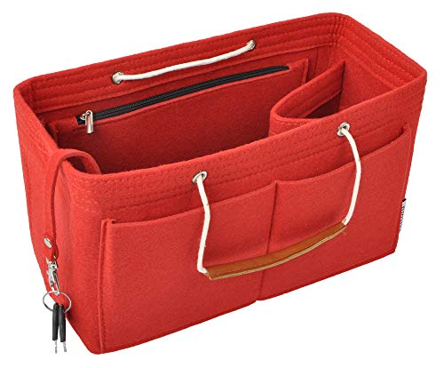 Vercord Felt Handbag Insert Purse Organizers Bag Tote with Handle for Neverfull Speedy Women Red Large