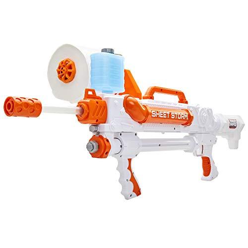 Jakks 150304 - Toilet Paper Blaster Sheet Storm, verandert wc-papier in papieren korreltjes om te schieten, bereik tot 15 m, leuk outdoor game voor groot en klein, vanaf 8 jaar