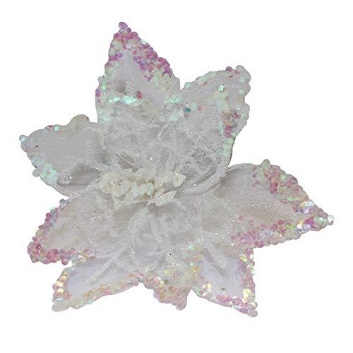 Christmas Glitter Poinsettia Decoration 20cm with Clip - White