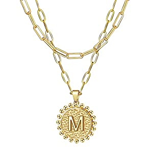 Layered Necklaces for Women -Layering Initial Necklaces 18K Gold Plated Paperclip Link Chain Necklace Personalized Layered Gold Initial Choker Necklaces for Women A-Z EXGOX