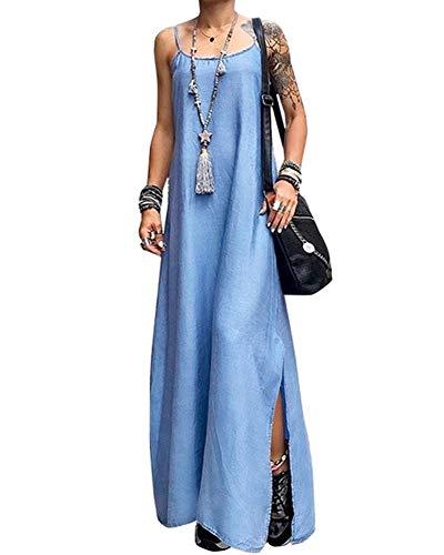 Onsoyours Jeanskleider Damen Sommerkleid Jeans Kleider V-Ausschnitt Strandkleider Einfarbig A-Linie Kleid Blusenkleid Hemdkleid Knielang Kleid Denimkleid H Hellblau M