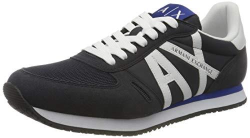 Armani Exchange Micro Suede Multicolor Sneakers, Zapatillas Hombre, Navy Optic White, 43 EU