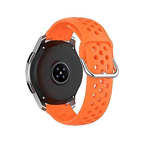 Bemodst Correa de reloj universal de 22 mm, agujeros de aire, correas de silicona suave, correas de repuesto ajustables para reloj de 22 mm de ancho para Polar Vantage M (naranja)
