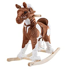 EASY TO ASSEMBLE – The Rocking Horse Plush Animal is easy to assemble and easy to ride.  With metal foot stirrups, your child can easily and safely rock on their new horse friend, done best on carpeted areas. SPECIAL FEATURES – The Happy Trails rocki...
