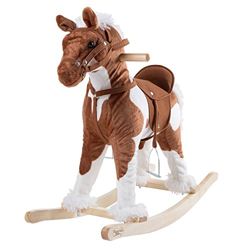 Rocking Horse Plush Animal on Wooden Rockers with Sounds, Stirrups, Saddle & Reins, Ride on Toy, Toddlers to 4 Years Old by Happy Trails – Clydesdale