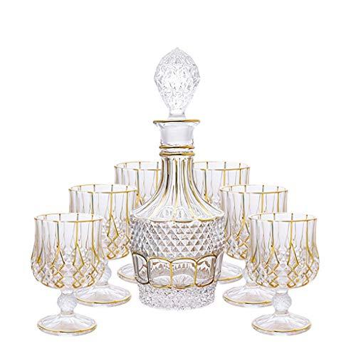 Xuan - worth having Copas de Vino Sello de Oro con Tapa Juego de 7 Piezas Juego de 7 Piezas de Vidrio para el hogar Cristal de Brandy Vidrio de Whisky Vidrio Vino Copa de Vino