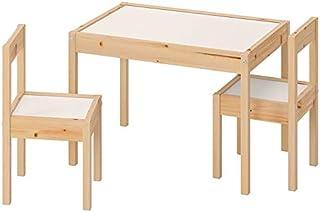Ikea Latt-Table pour Enfant avec 2 chaises, Blanc, pin, Kiefer, Beige, Table avec 2 chaises, Blanc