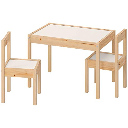 Ikea LATT-Mesa Infantil con 2 sillas, Color Blanco, Pino, Beige, Table with 2 Chairs ⭐
