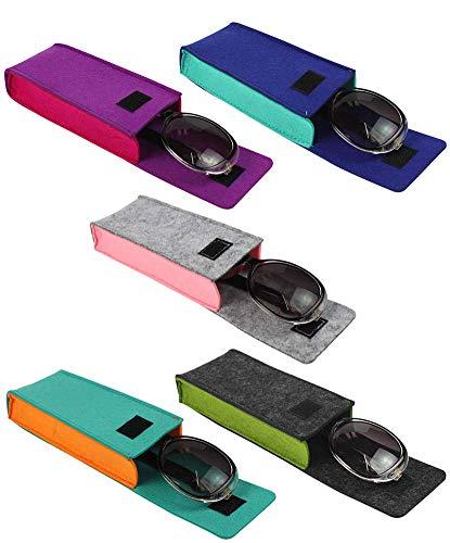 [5 PACK], JAVOedge Soft Felt 2 Tone Color Reading Eyeglasses Storage Case Top Flap Open With Microfiber Cloth