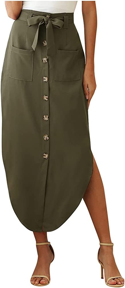Lghxlxry Women's High Waist Button Down High Low Hem Solid Belted Waist Skirt with Pocket