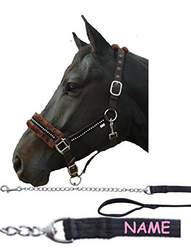 der-pferdeshop Set Halfter Diamant mit Führkette und Namen auf dem Strick für Warmblut/Vollblut/Pony/Shetty (Halfter braun/Strick schwarz, Warmblut)