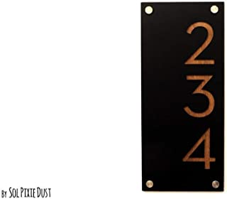 Modern House Numbers, Black Acrylic with Dark Oak Marine Plywood - Vertical - Contemporary Home Address -Sign Plaque - Door Number