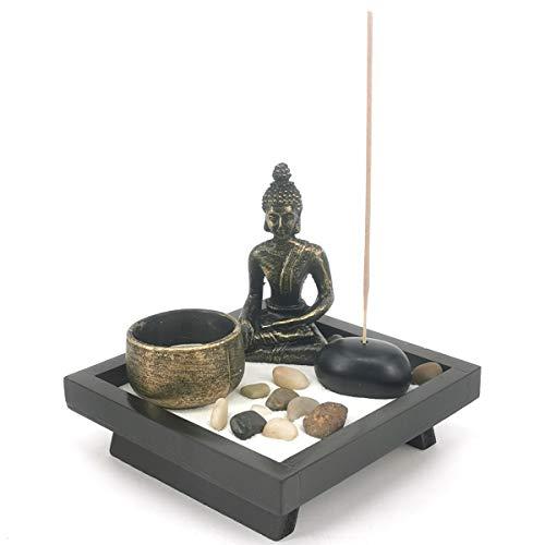 LZWIN Desk Meditation Garden Buddha Statue Incense Stick Holder with Tealight Candleholder
