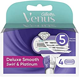 Venus Gillette Venus Deluxe Smooth Swirl & Platinum Refill Blades 4 Count, 4 count