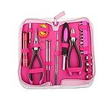 Juego de herramientas rosa para mujer, 23 piezas, kit de herramientas de mano para el hogar, señoras, color rosa, kit de herramientas para el hogar, oficina, coche