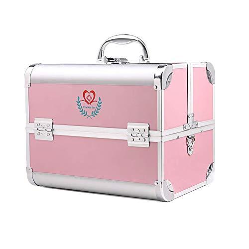 ZCG Medicine Box - Caja de primeros auxilios con múltiples bandejas, portátil, doble abierto, con cerradura y llave, color plateado/rosa (color: rosa, tamaño: 300 x 220 x 240 mm)