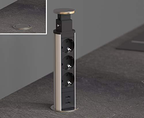 SCHÜTTE versenkbare Steckdosenleiste für die Arbeitsplatte (2x USB & 3x 230 V Steckdosen), Einbausteckdose für die Küche zum Nachrüsten, Tischsteckdose aus Edelstahl