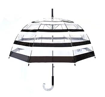 SMATI Stick Automatic Clear Stars Umbrella - Birdcage Bubble See Through  Transparent Black White Stripe